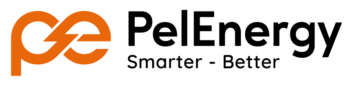 Logotyp PelEnergy orange-svart